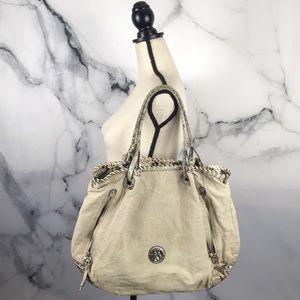 Franco Sarto snake print & canvas tote bag